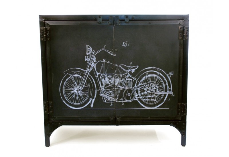 bahut m tal recycl moto style industriel salon. Black Bedroom Furniture Sets. Home Design Ideas