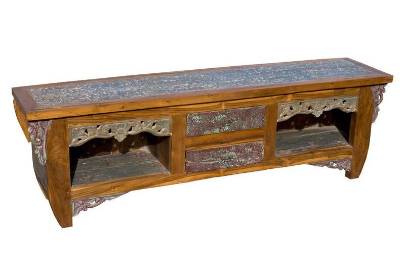 meuble tv exotique en vieux teck recycl salon koh deco