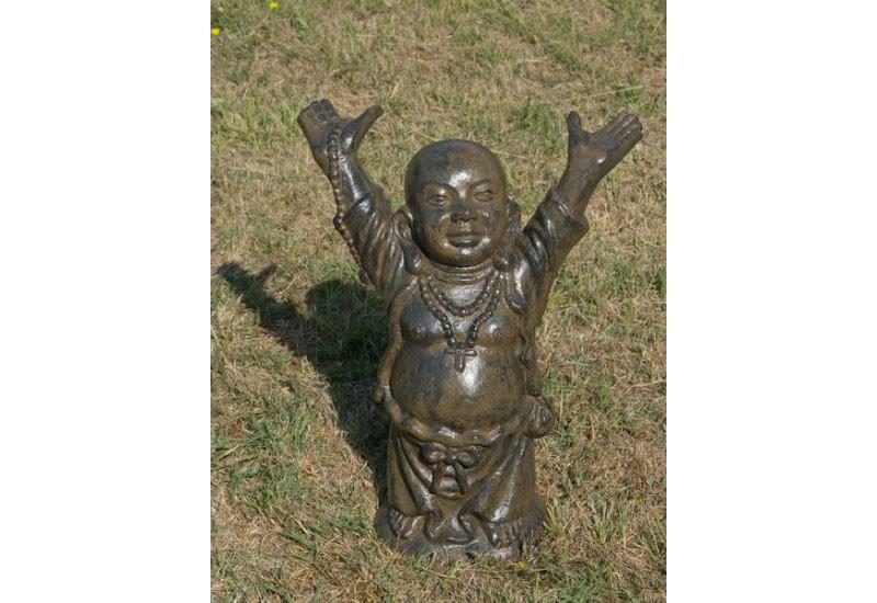 Statue bouddha du bonheur en fibre ciment pour jardin for Bouddha pour le jardin