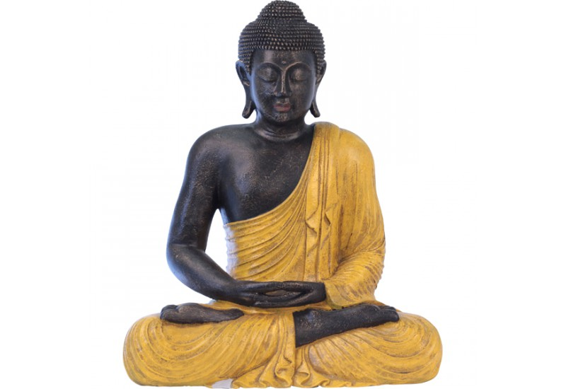 statue bicolore de bouddha assis pour le jardin koh deco. Black Bedroom Furniture Sets. Home Design Ideas