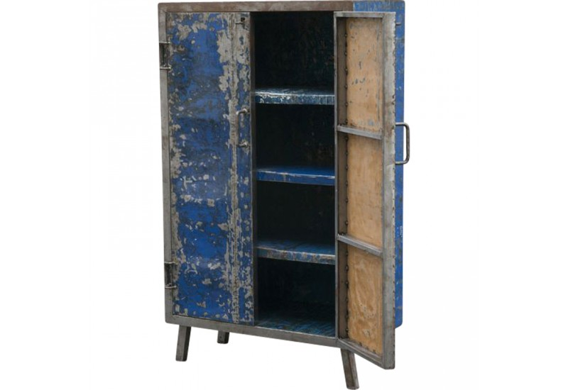 petite armoire bleue en m tal recycl pour le bureau koh deco. Black Bedroom Furniture Sets. Home Design Ideas