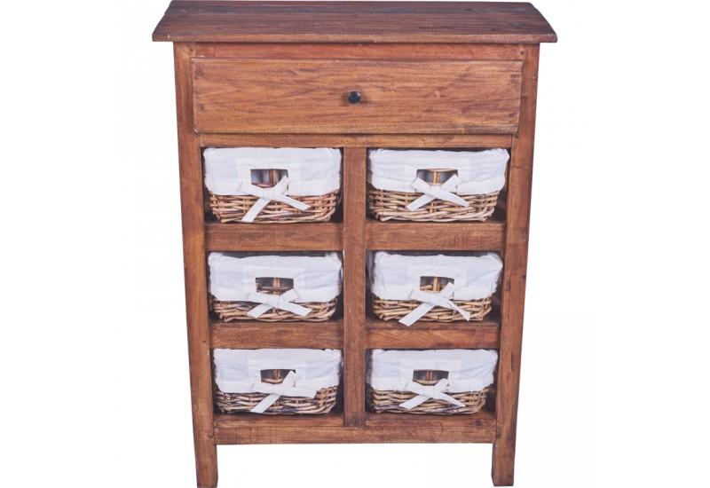 Commode 6 paniers en bois exotique koh deco - Commode bois exotique ...