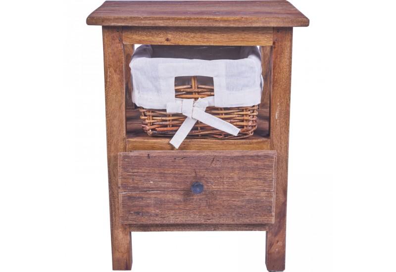 Chevet avec tiroir en bois exotique chambre koh deco - Chevet bois exotique ...