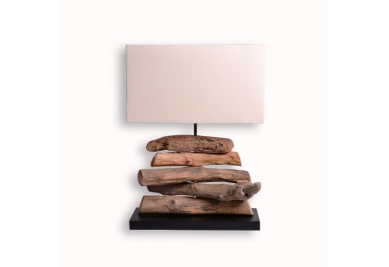 Lampe exotique ht 49 cm en bois flott pour le salon for Lampe en bois artisanale