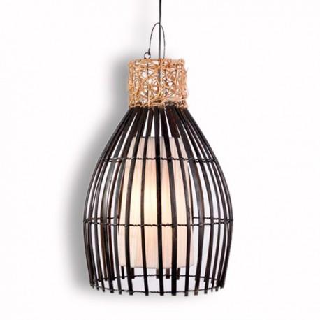 suspension exotique en bambou et rotin h 52 cm pour salon. Black Bedroom Furniture Sets. Home Design Ideas