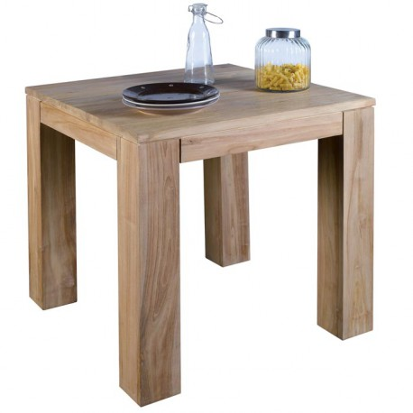 Table carr e l 80 cm en teck s jour born o casita koh deco Table sejour carree