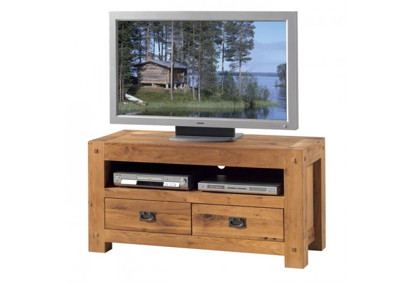 Meuble tv l 120 cm salon lodge casita en ch ne koh deco for Meuble tv en l