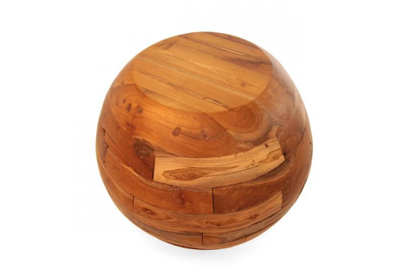 tabouret boule exotique en teck pour le salon koh deco. Black Bedroom Furniture Sets. Home Design Ideas