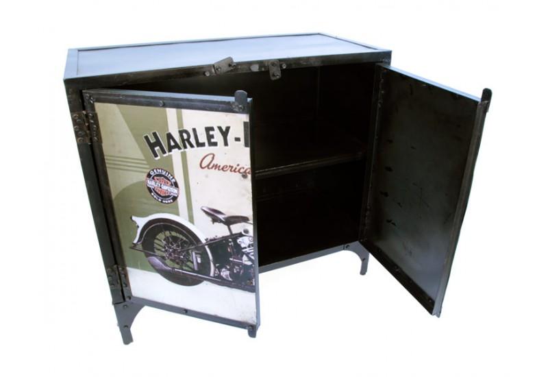 Bahut métal recyclé industriel Harley-Davidson pour salon
