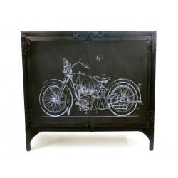 Bahut bas en métal recyclé Moto style industriel