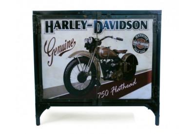 Bahut bas en métal recyclé Harley-Davidson Genuine style industriel