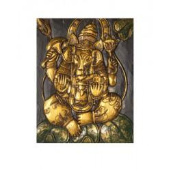 Panneau sculpté en bois Ganesh