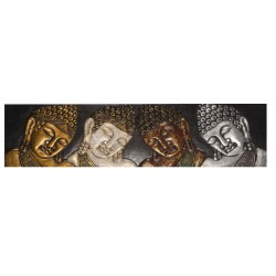 Panneau sculpté en Mahogany têtes de Bouddha