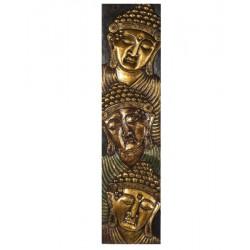 Panneau sculpté en bois 3 têtes de bouddha