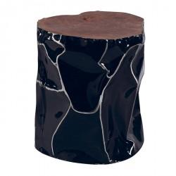 Tabouret en teck et aluminium noir ESSAOUIRA