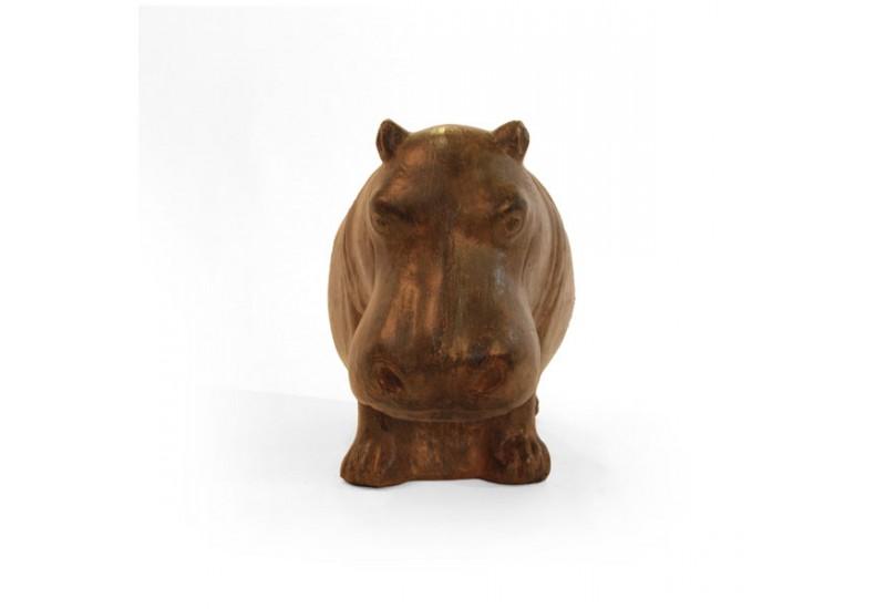 Statue hippopotame marron 42 cm pour le jardin koh deco for Objet decoration hippopotame