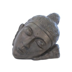 Statue tête de Bouddha Relax 80 cm - Brun