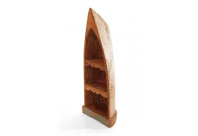 Étagère pirogue en bois de bateau recyclé
