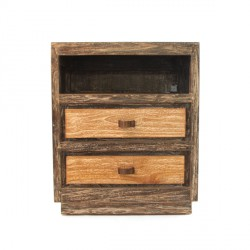 Chevet en teck 2 tiroirs - 1 niche