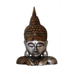 Buste de Bouddha en bois