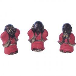 Set de 3 statues Moine de la sagesse en bronze