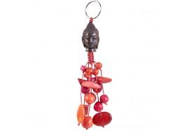 Porte-clés tête de Bouddha et perles rouges