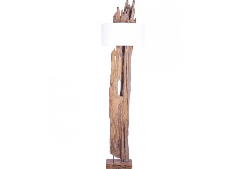 Lampadaire koeta en bois flott teck deco bali koh deco for Lampadaire interieur bois