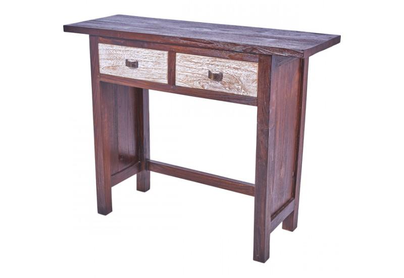 console bicolore 2 tiroirs en teck pour le salon koh deco. Black Bedroom Furniture Sets. Home Design Ideas