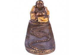 Porte encens Bouddha rieur orange