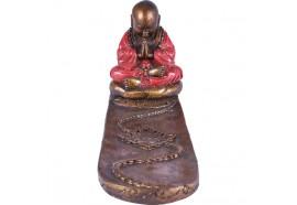 Porte encens moine Bouddhiste rouge