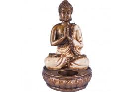 Support à bougie Bouddha - Blanc