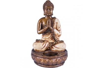 Bougeoir Bouddha en résine - Blanc