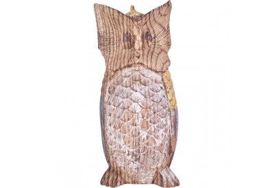 Hibou en bois de Suar H 30 cm