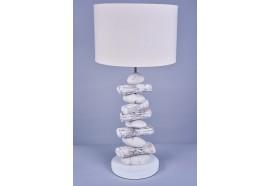 Lampe bois flotté blanchi et galets blancs H 62 cm