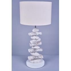 Lampe Rona en bois flotté et galets H 62 cm