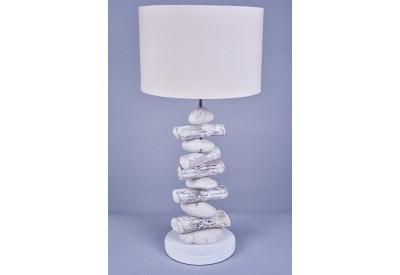 Lampe bois flotté et galets H 62 cm