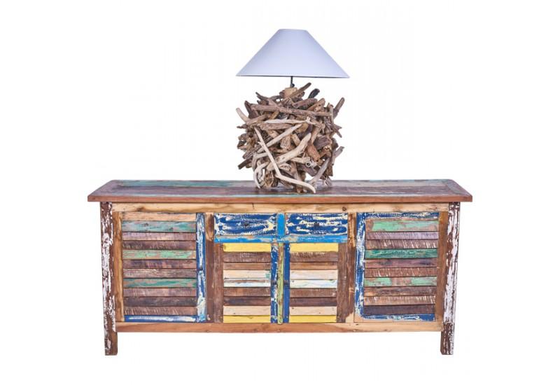 Lampe poser granat en bois flott pour le salon koh deco for Meuble en bois flotte