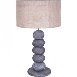 Lampe à poser Batu en galet naturel noir