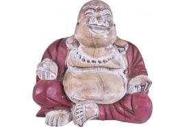 Bouddha Rieur en bois Rouge/Blanc