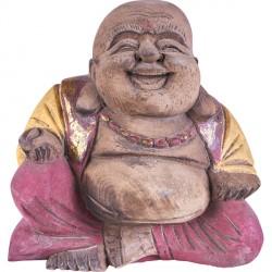 Bouddha Rieur en bois Rouge/Jaune