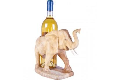 Éléphant porte-bouteille en bois