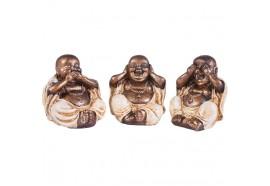 Set 3 statues moines du Bonheur 8.5 cm - Blanc