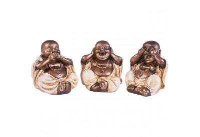 Set 3 Bouddha de la sagesse en résine - Blanc