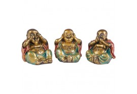 Set 3 statues Bouddha de la sagesse 8.5 cm orange/vert