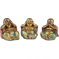 Set 3 statues Bouddha dela sagesse en résine - Orange/Vert
