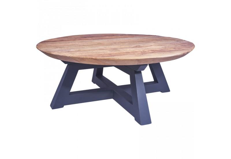 Table basse ronde bukit en vieux teck pour le salon koh deco for Table basse vieux bois