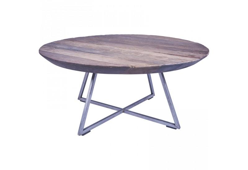 table basse ronde bogor en vieux teck pour salon koh deco. Black Bedroom Furniture Sets. Home Design Ideas