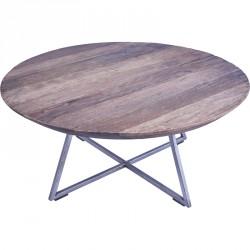 Table basse ronde BOGOR en vieux teck Ø 60 cm