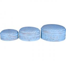 Lot de 3 boîtes en bambou tressé - Bleu