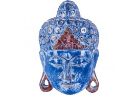 Masque Bouddha turquoise en bois de Mahogany